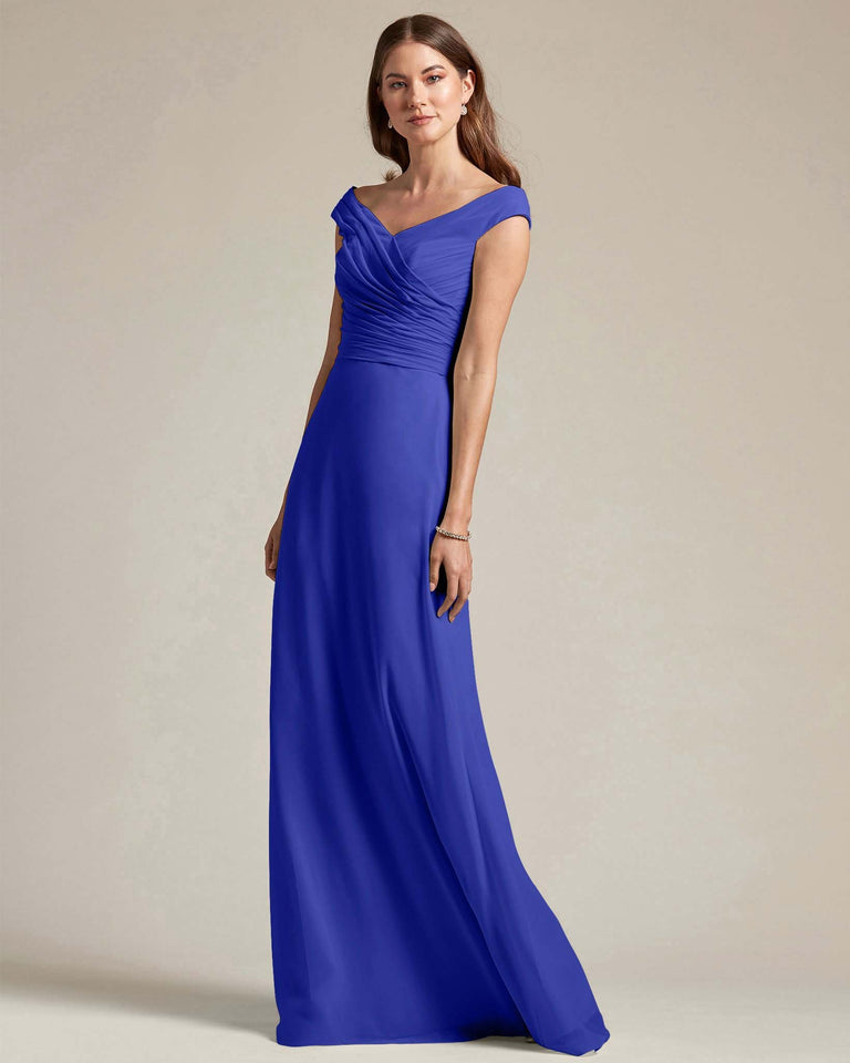 Royal Blue Off The Shoulder Ruched Top With Long Skirt Bridesmaid Gown