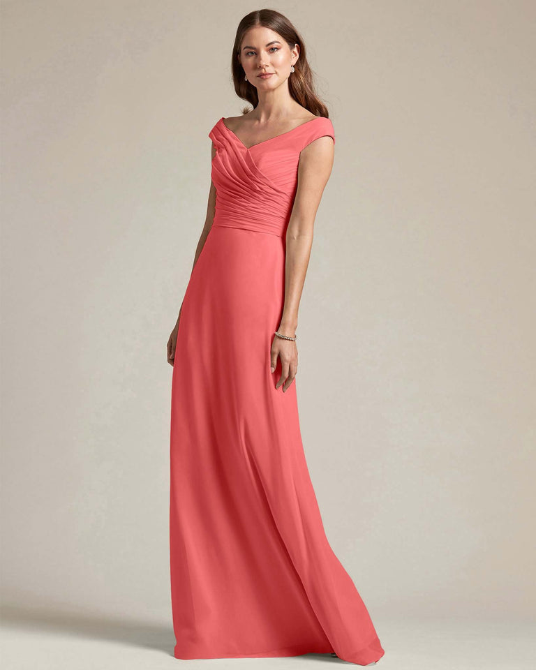 Watermelon Off The Shoulder Ruched Top With Long Skirt Bridesmaid Gown