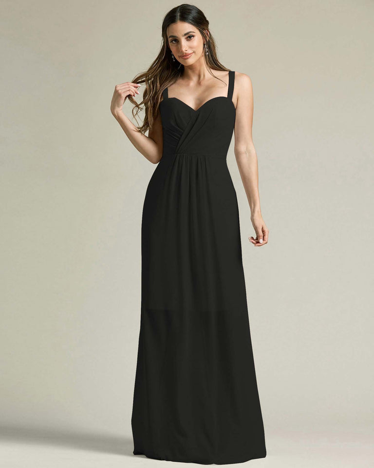Black Thick Spaghetti Strap Bridesmaid Dress With Sheer Maxi Skirt