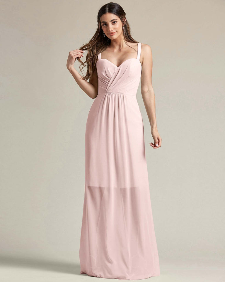 Blushing Pink Thick Spaghetti Strap Bridesmaid Dress With Sheer Maxi Skirt