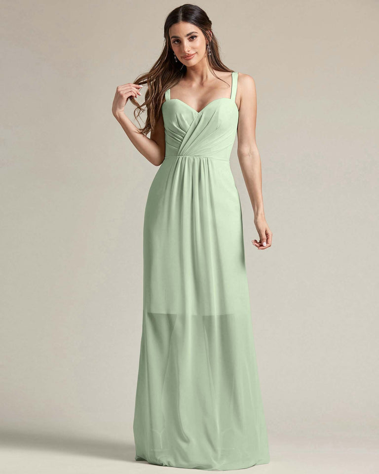 Celadon Thick Spaghetti Strap Bridesmaid Dress With Sheer Maxi Skirt