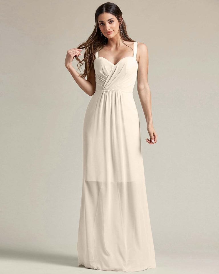 Frost Thick Spaghetti Strap Bridesmaid Dress With Sheer Maxi Skirt