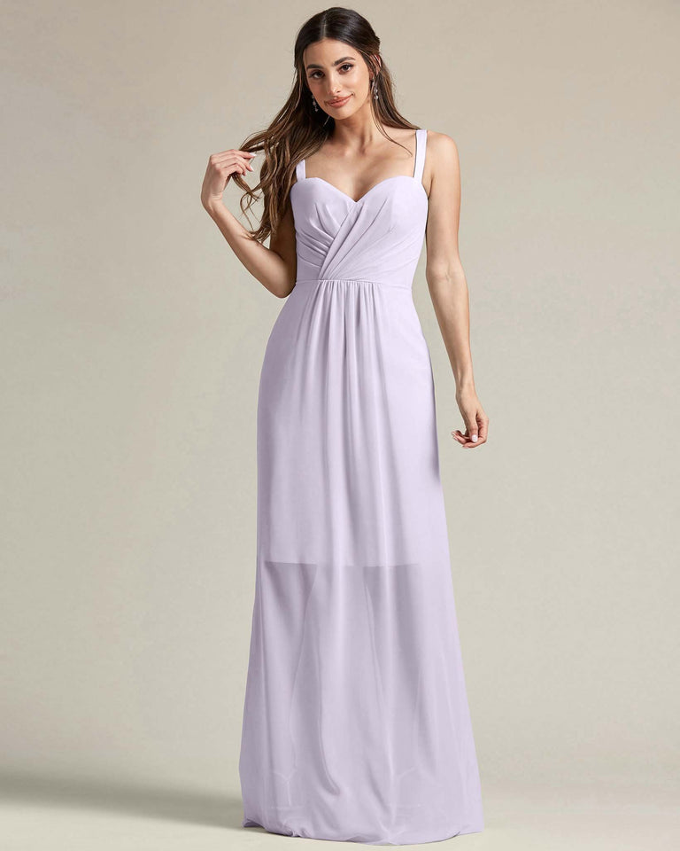 Lilac Thick Spaghetti Strap Bridesmaid Dress With Sheer Maxi Skirt