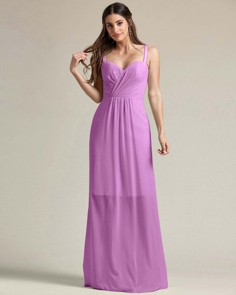 Purple Thick Spaghetti Strap Bridesmaid Dress With Sheer Maxi Skirt