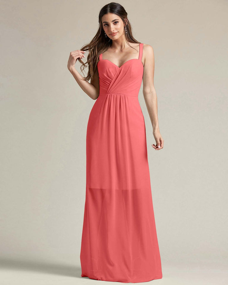 Watermelon Thick Spaghetti Strap Bridesmaid Dress With Sheer Maxi Skirt
