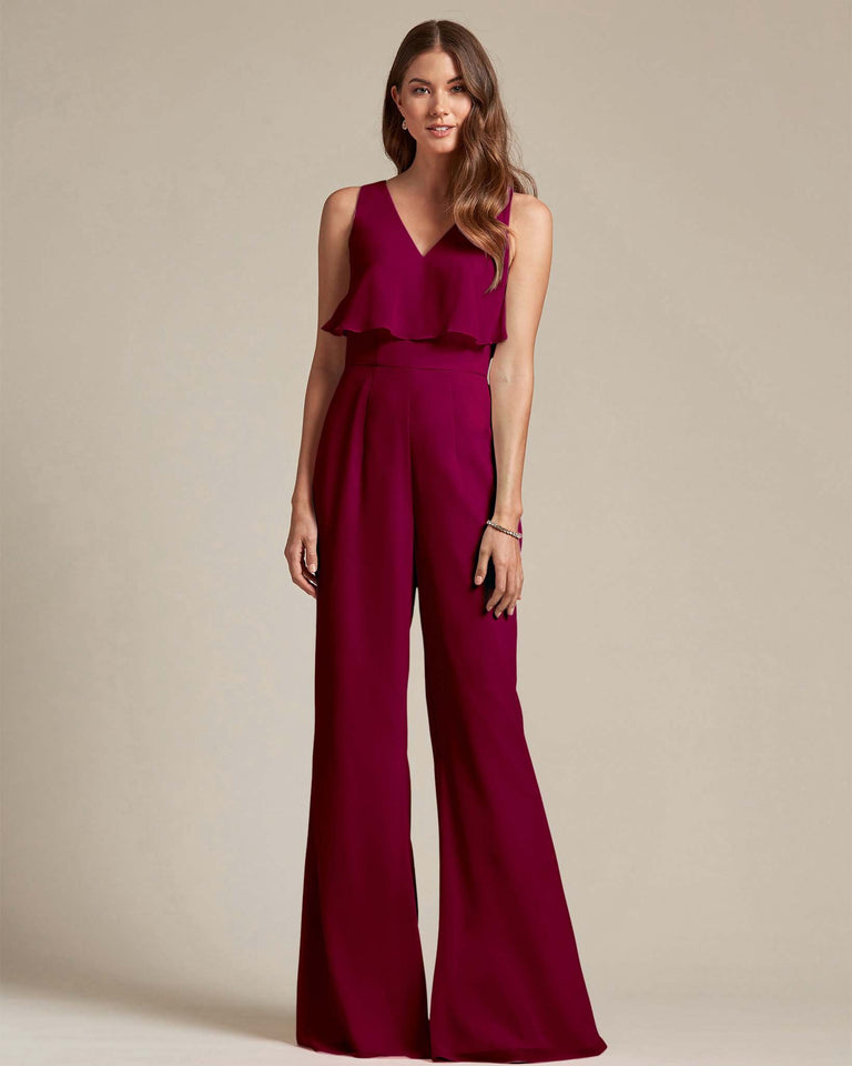 Burgundy Flowy Top With Flare Wide Leg Bridesmaid Jumpsuit