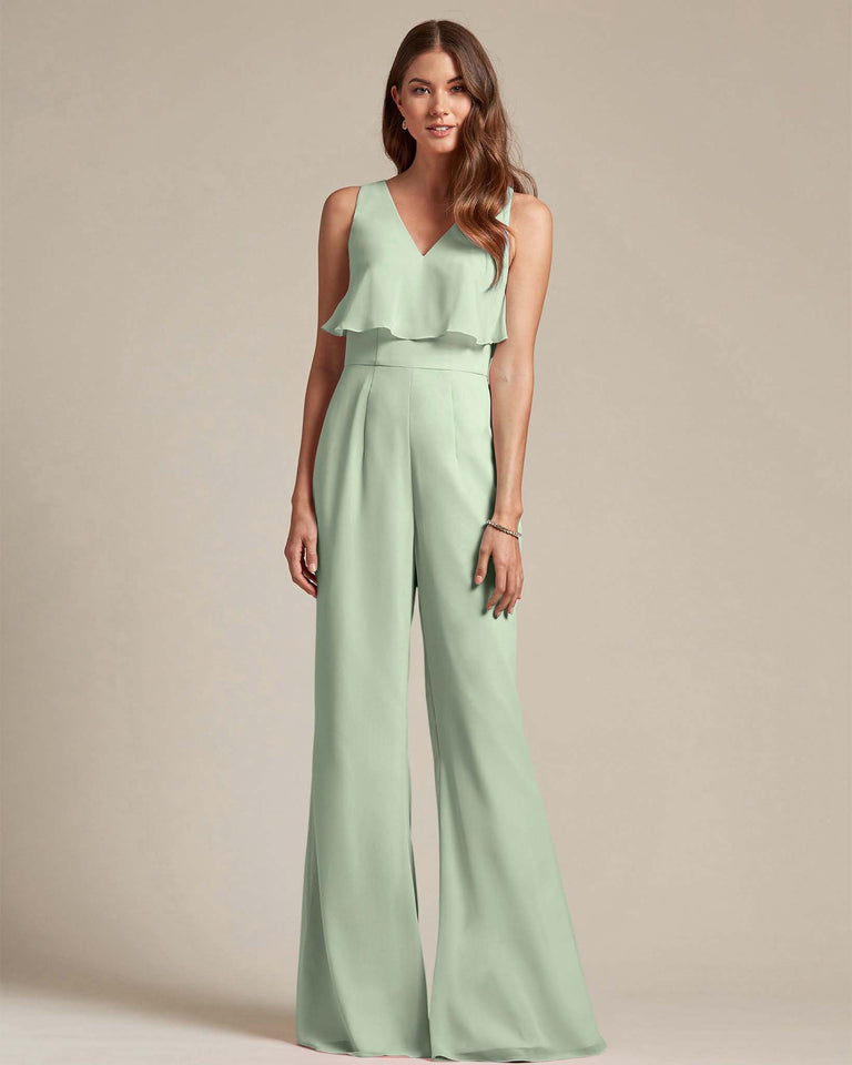 Celadon Flowy Top With Flare Wide Leg Bridesmaid Jumpsuit