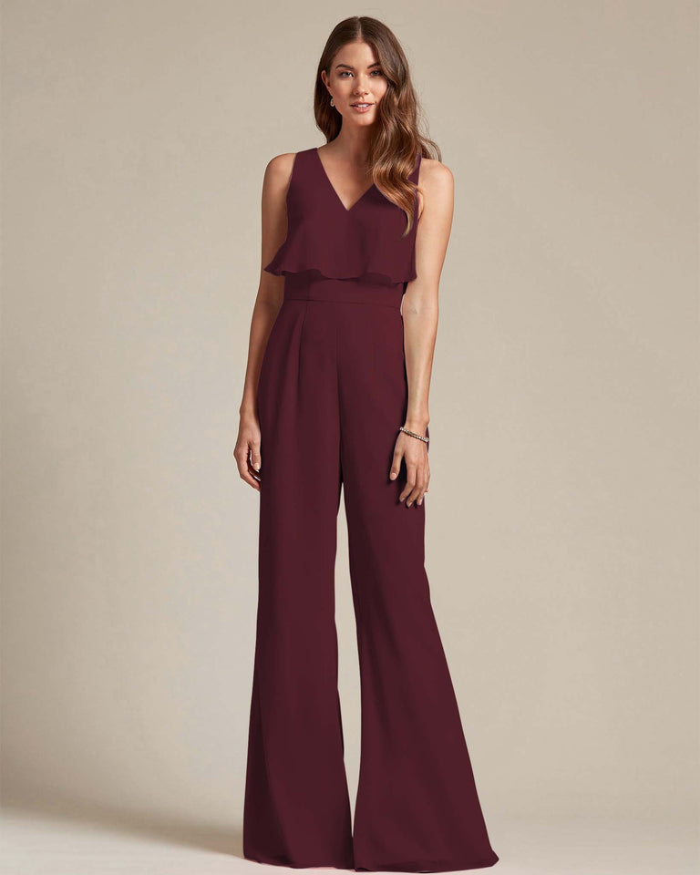 Claret Flowy Top With Flare Wide Leg Bridesmaid Jumpsuit