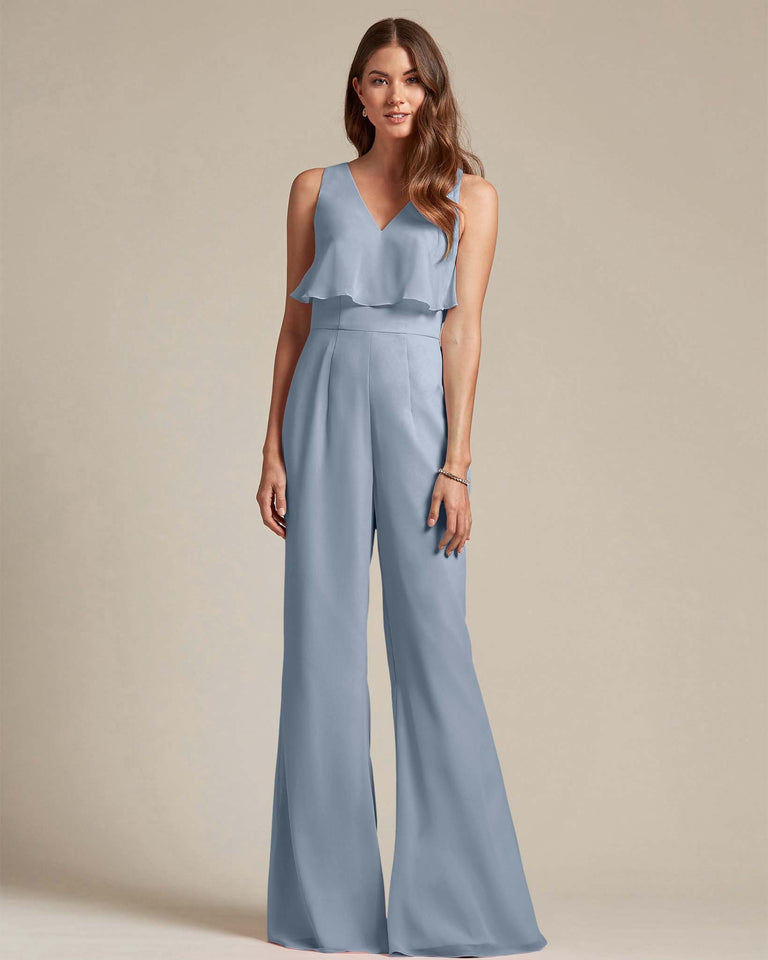 Dusty Blue Flowy Top With Flare Wide Leg Bridesmaid Jumpsuit