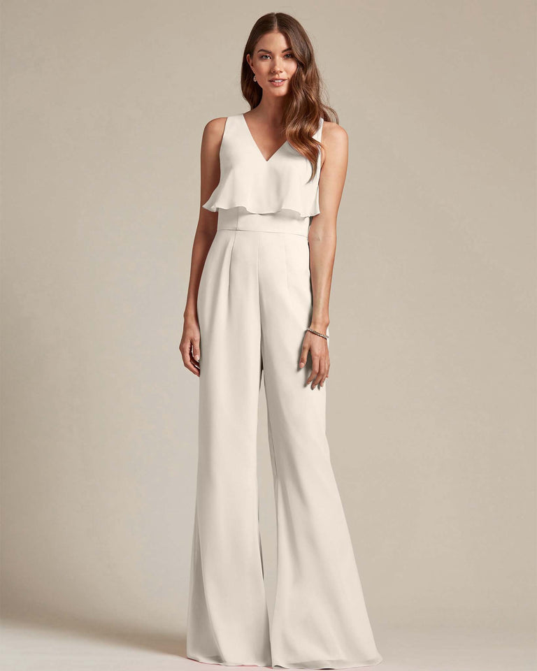 Frost Flowy Top With Flare Wide Leg Bridesmaid Jumpsuit
