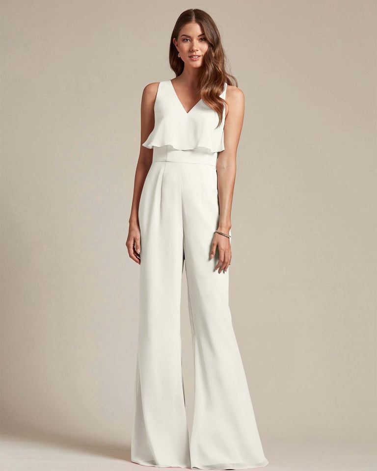 Ivory Flowy Top With Flare Wide Leg Bridesmaid Jumpsuit