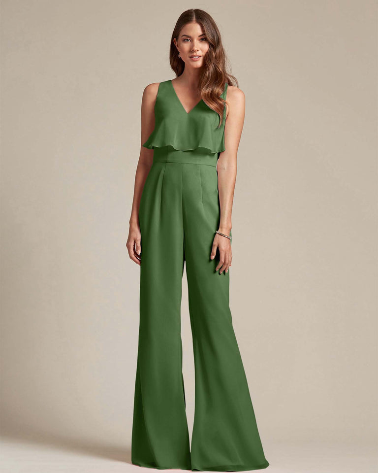 Moss Flowy Top With Flare Wide Leg Bridesmaid Jumpsuit