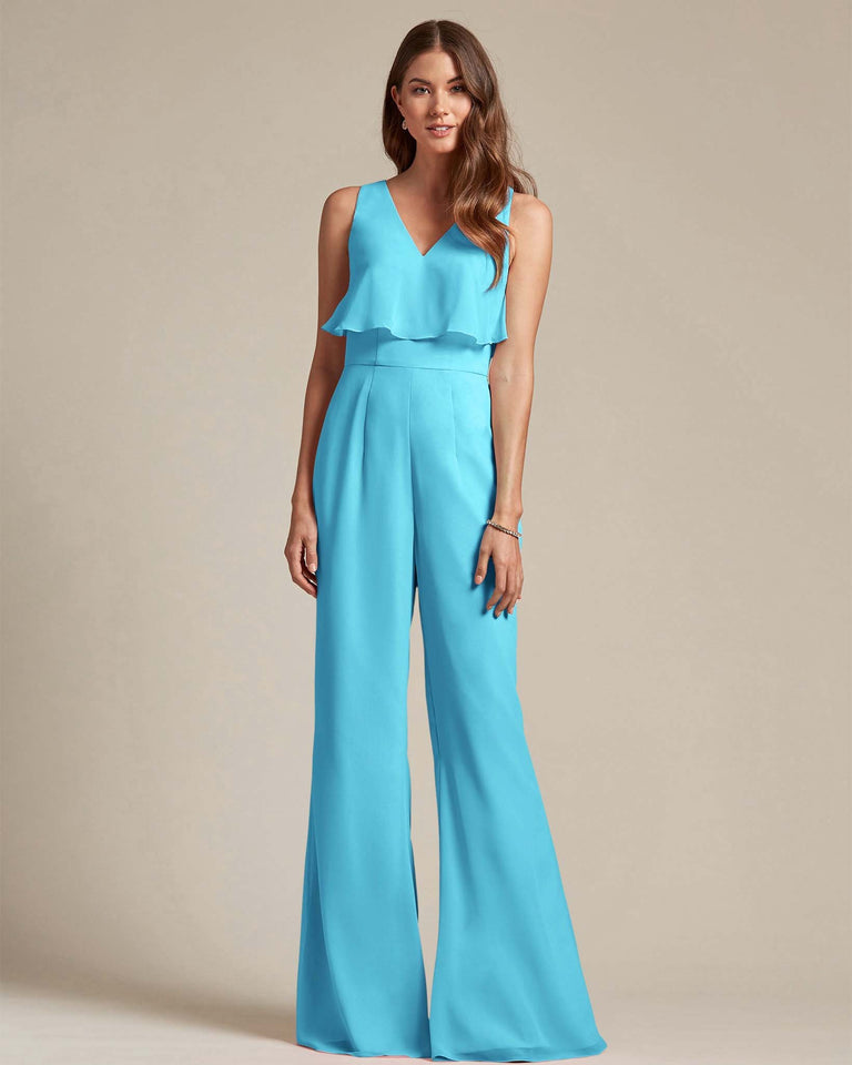 Pool Flowy Top With Flare Wide Leg Bridesmaid Jumpsuit
