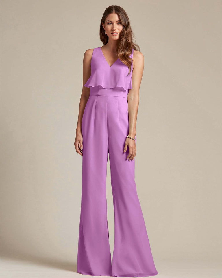 Purple Flowy Top With Flare Wide Leg Bridesmaid Jumpsuit