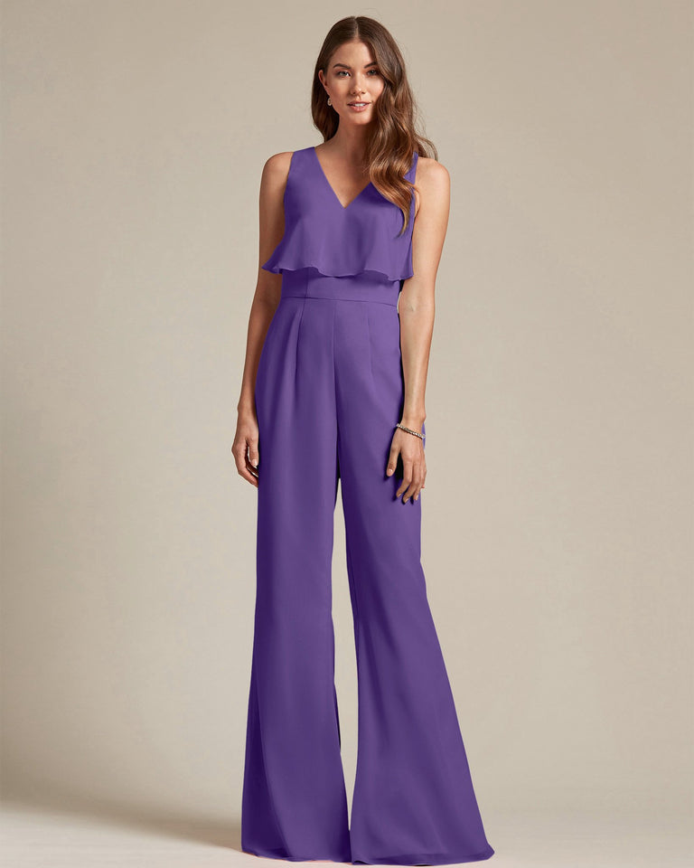 Regency Flowy Top With Flare Wide Leg Bridesmaid Jumpsuit