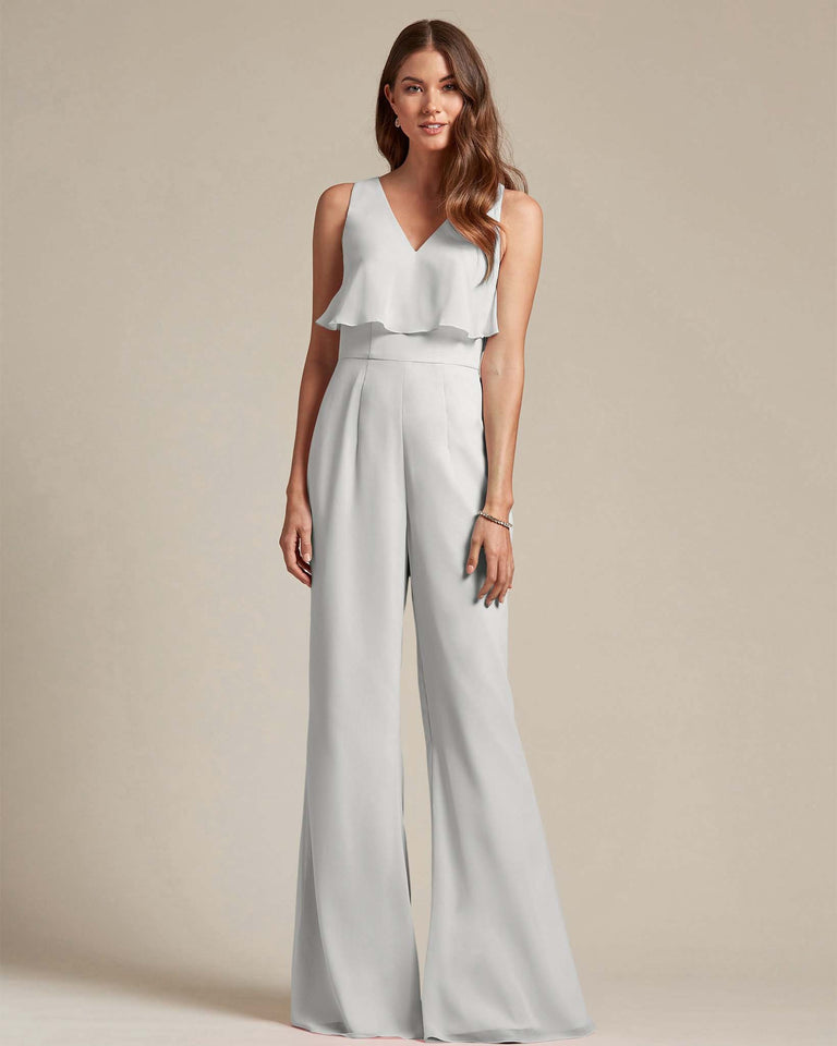 Silver Flowy Top With Flare Wide Leg Bridesmaid Jumpsuit