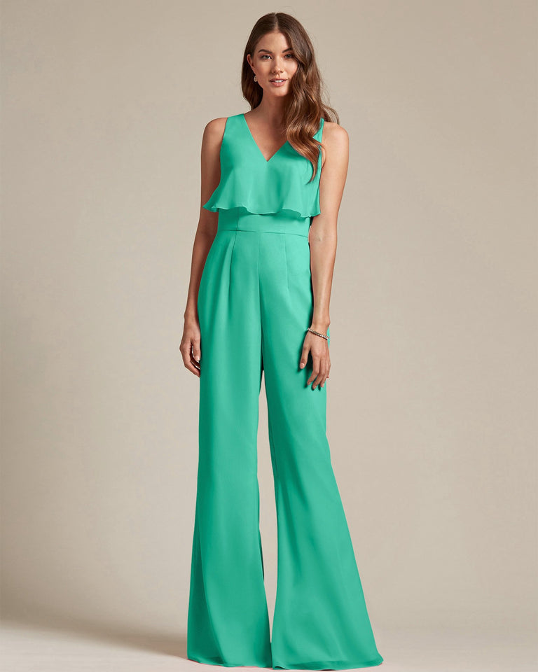 Turquoise Flowy Top With Flare Wide Leg Bridesmaid Jumpsuit