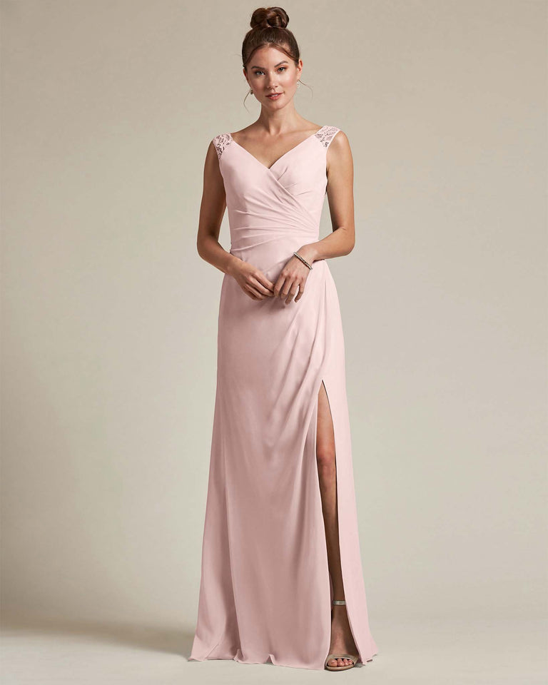 Blushing Pink Sexy Slit Skirt With Embroidered Top Bridesmaid Gown