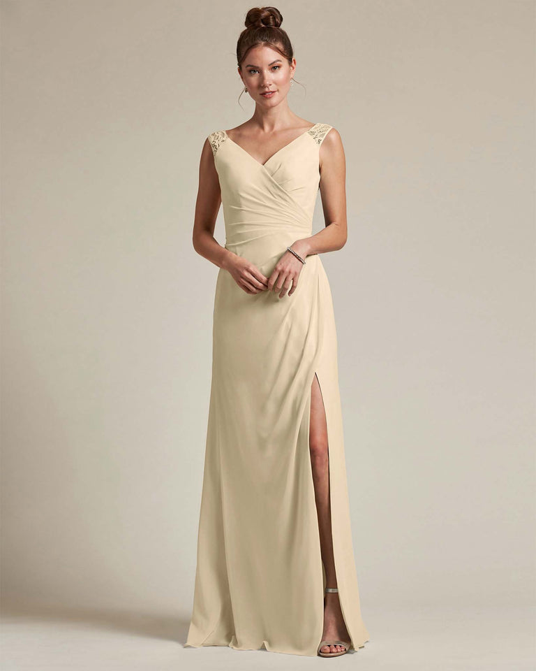 Champagne Sexy Slit Skirt With Embroidered Top Bridesmaid Gown