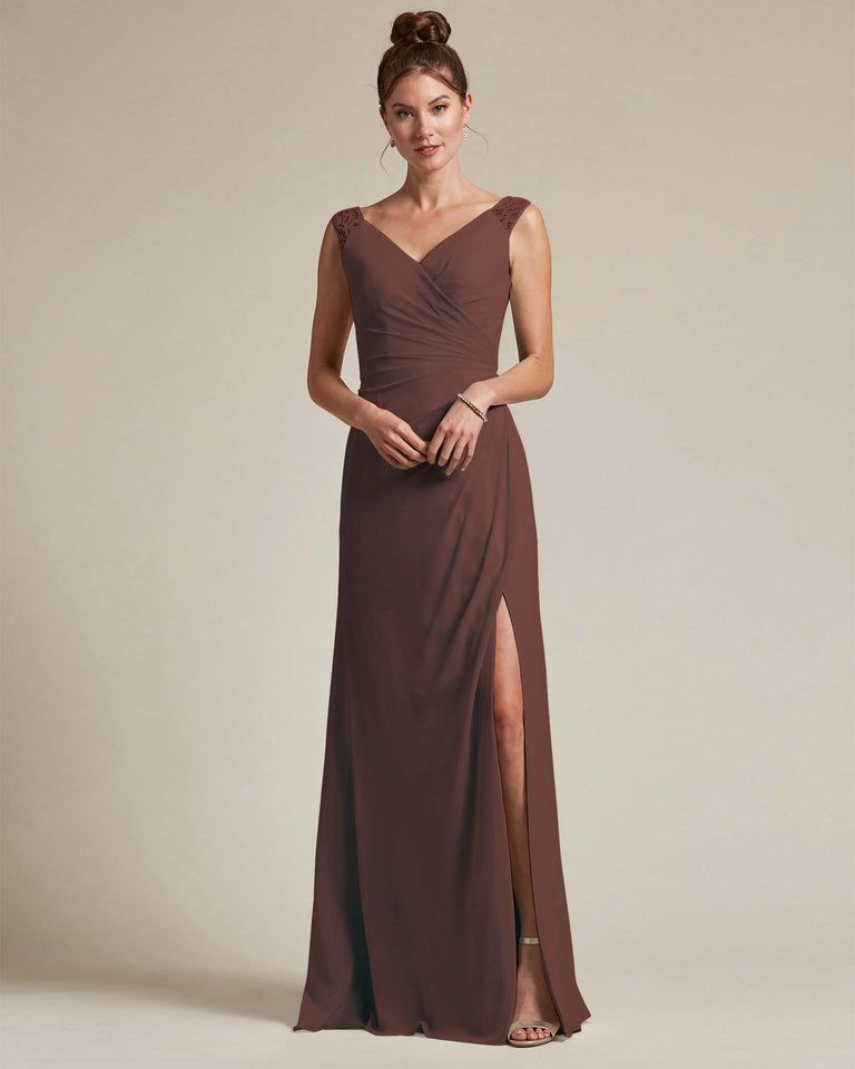 Chocolate Sexy Slit Skirt With Embroidered Top Bridesmaid Gown