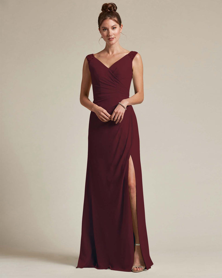 Claret Sexy Slit Skirt With Embroidered Top Bridesmaid Gown