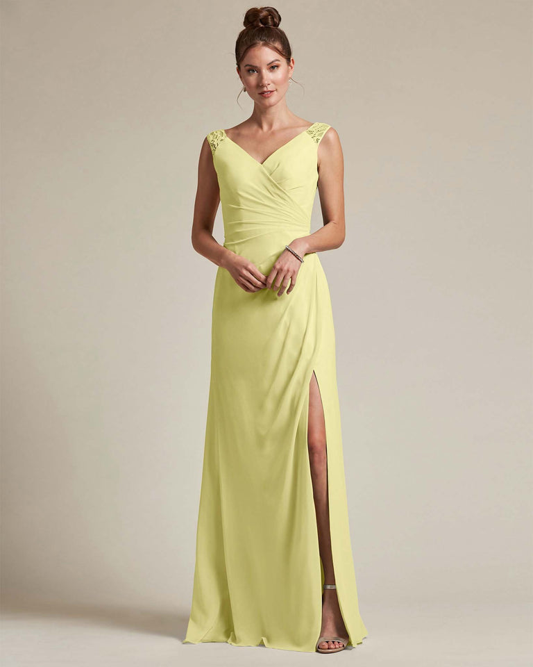 Daffodil Sexy Slit Skirt With Embroidered Top Bridesmaid Gown