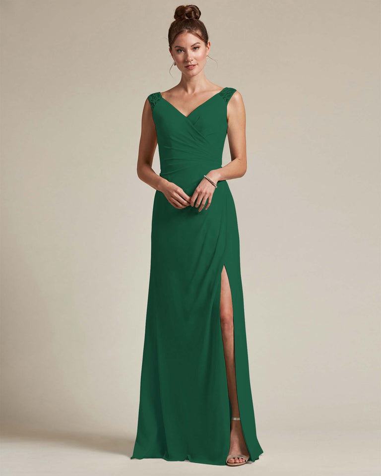Dark Green Sexy Slit Skirt With Embroidered Top Bridesmaid Gown