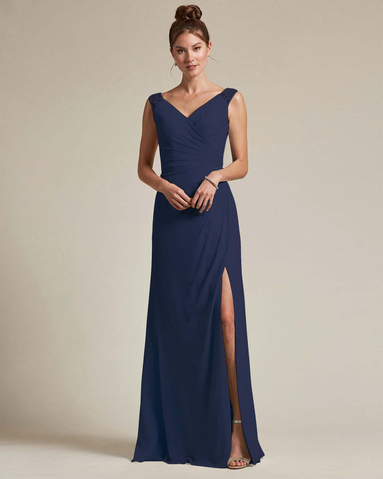 Dark Navy Sexy Slit Skirt With Embroidered Top Bridesmaid Gown