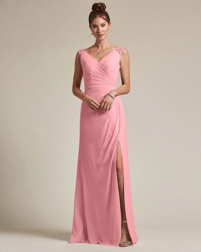 Flamingo Pink Sexy Slit Skirt With Embroidered Top Bridesmaid Gown