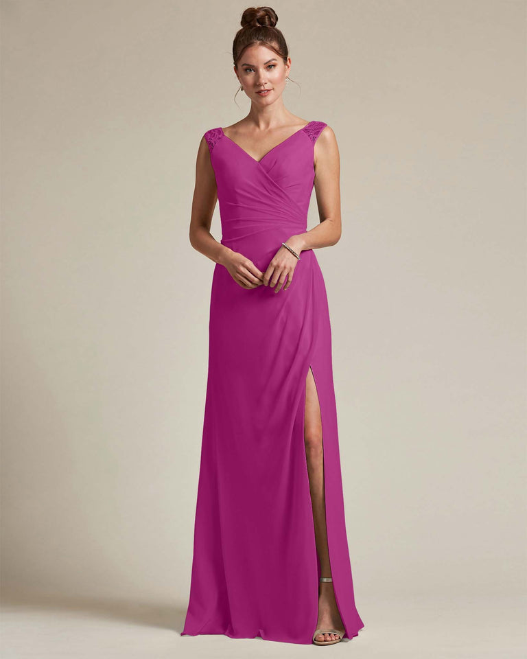 Fuchsia Sexy Slit Skirt With Embroidered Top Bridesmaid Gown