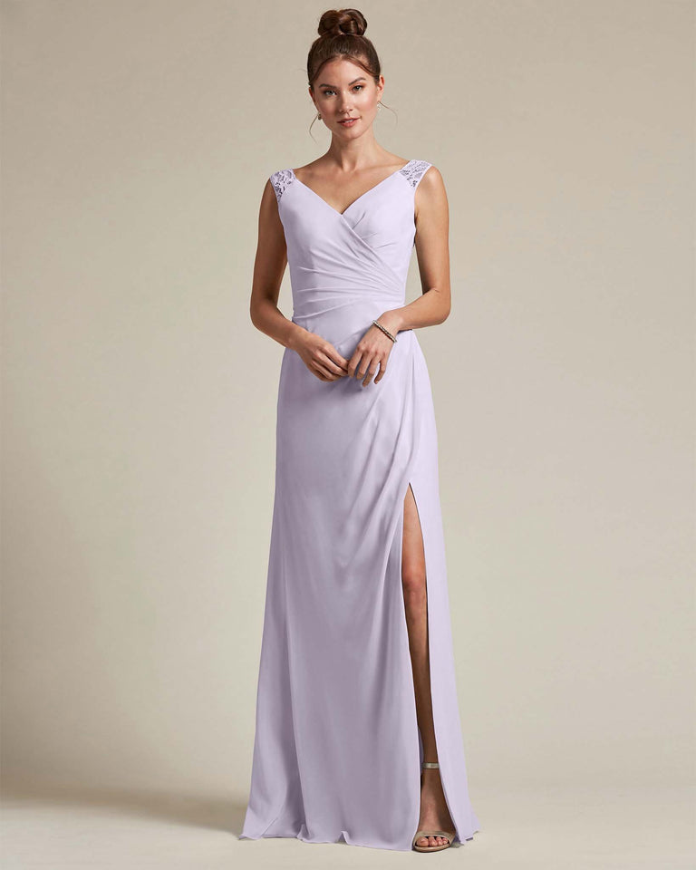 Lilac Sexy Slit Skirt With Embroidered Top Bridesmaid Gown