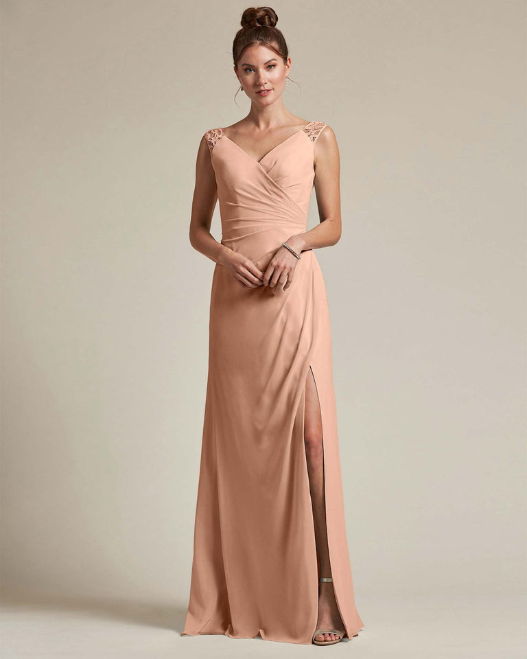 Peach Sexy Slit Skirt With Embroidered Top Bridesmaid Gown