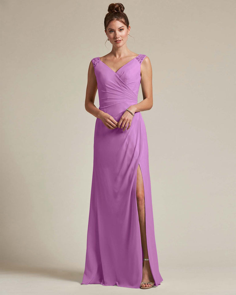 Purple Sexy Slit Skirt With Embroidered Top Bridesmaid Gown