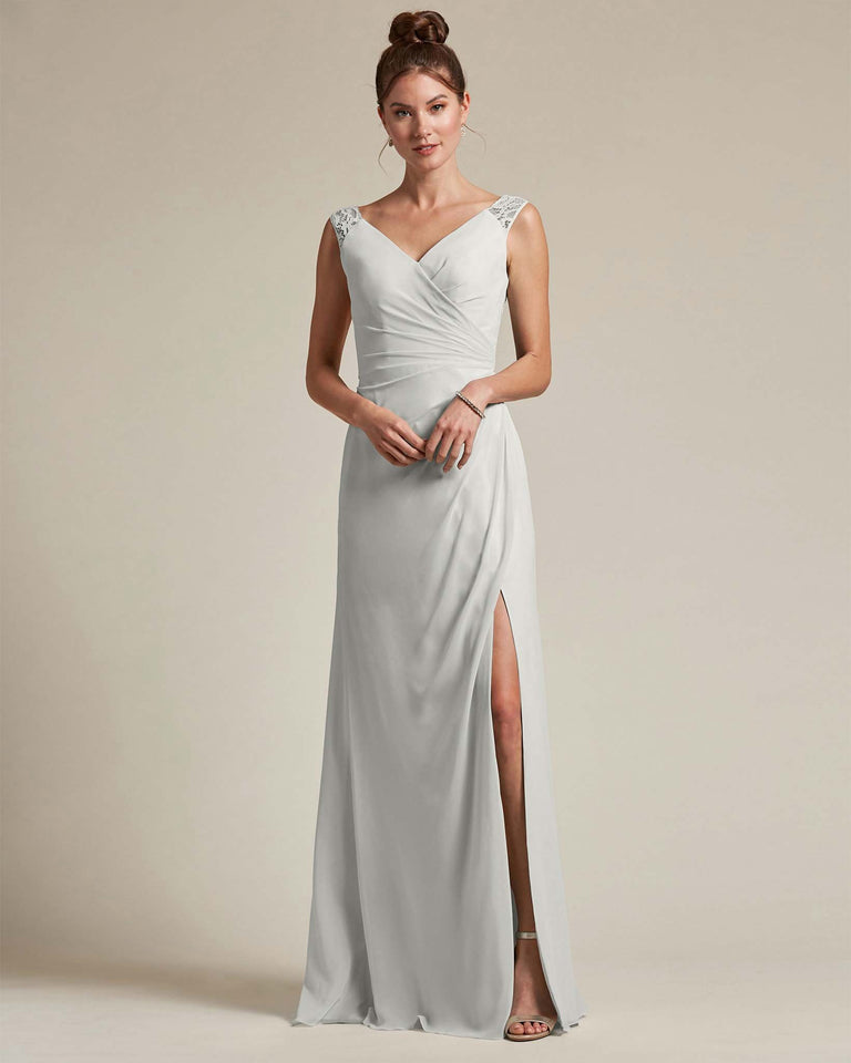 Silver Sexy Slit Skirt With Embroidered Top Bridesmaid Gown
