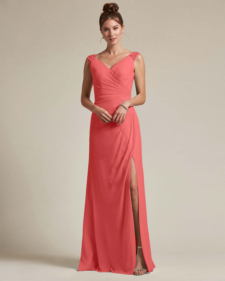 Watermelon Sexy Slit Skirt With Embroidered Top Bridesmaid Gown