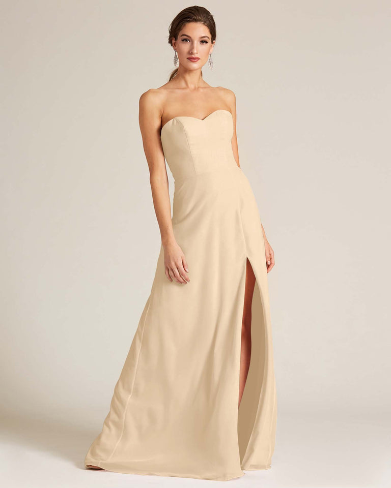 Champagne Strapless Cut Out Back Formal Gown