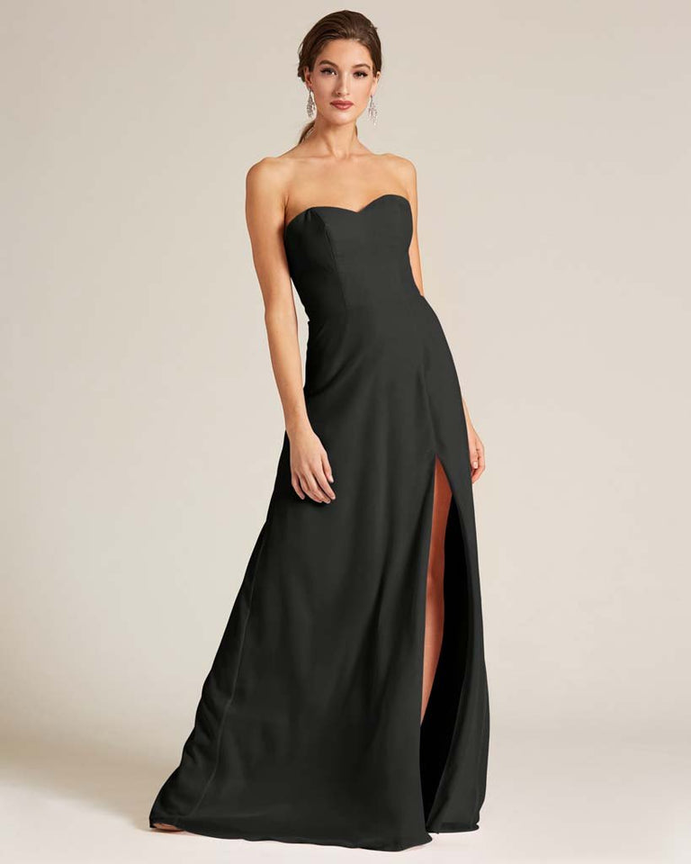 Black Strapless Cut Out Back Formal Gown