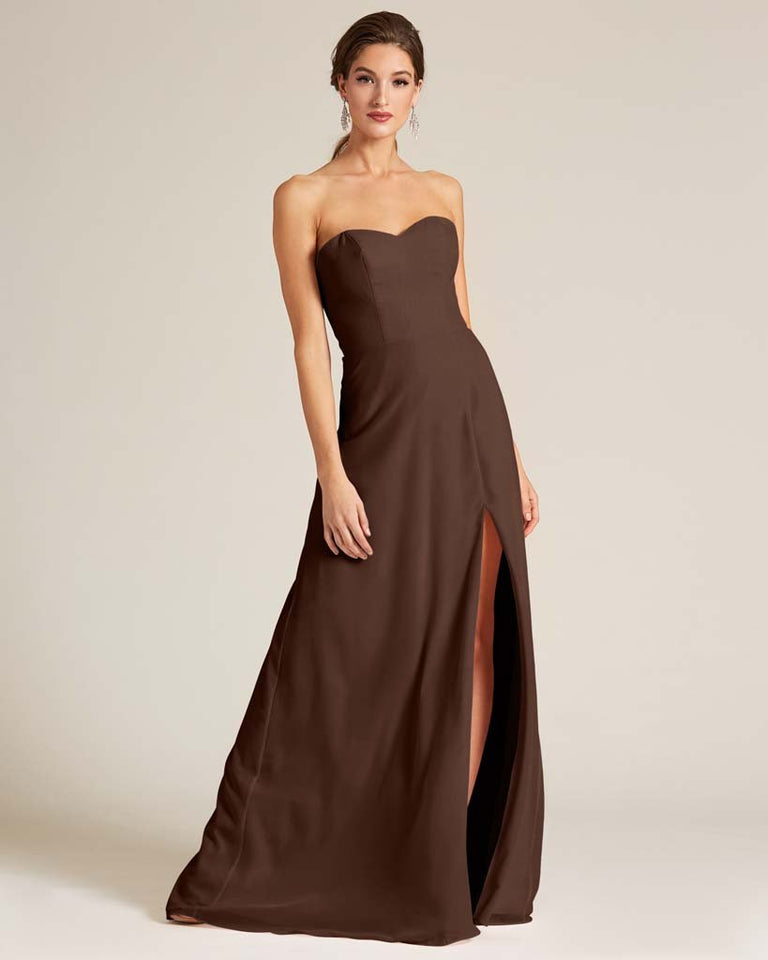Chocolate Strapless Cut Out Back Formal Gown