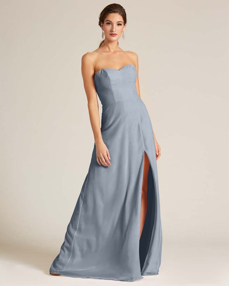Dusty Blue Strapless Cut Out Back Formal Gown