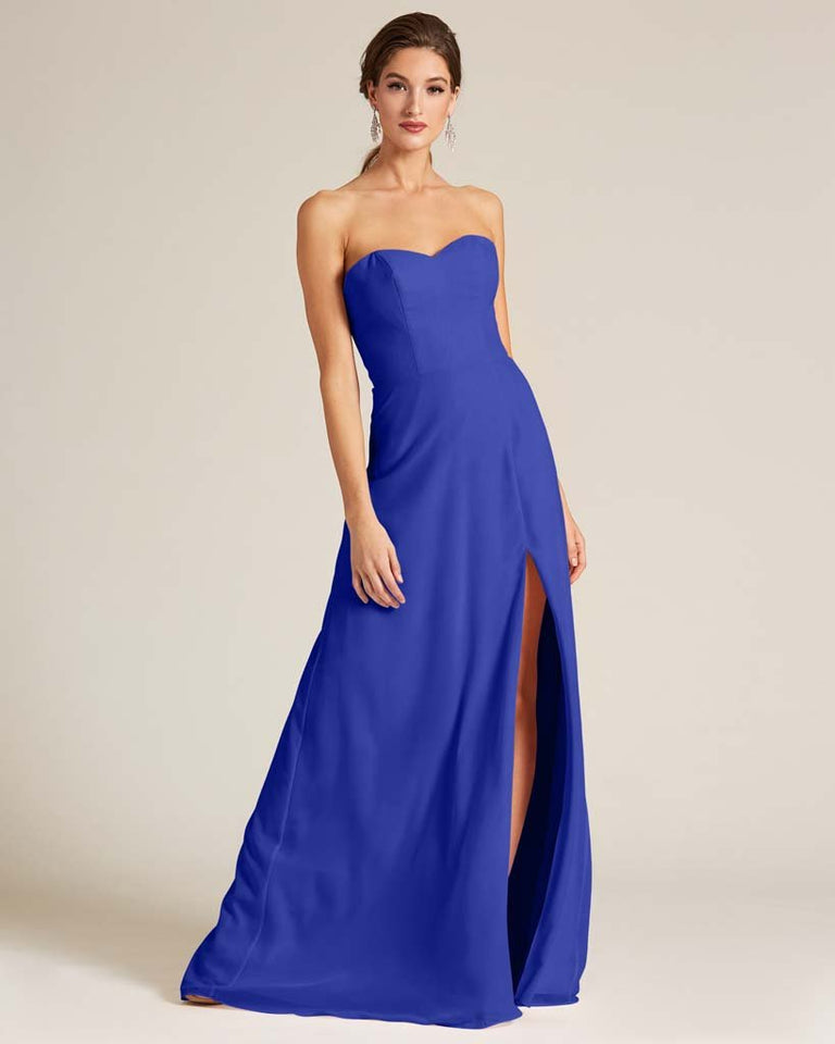 Royal Blue Strapless Cut Out Back Formal Gown