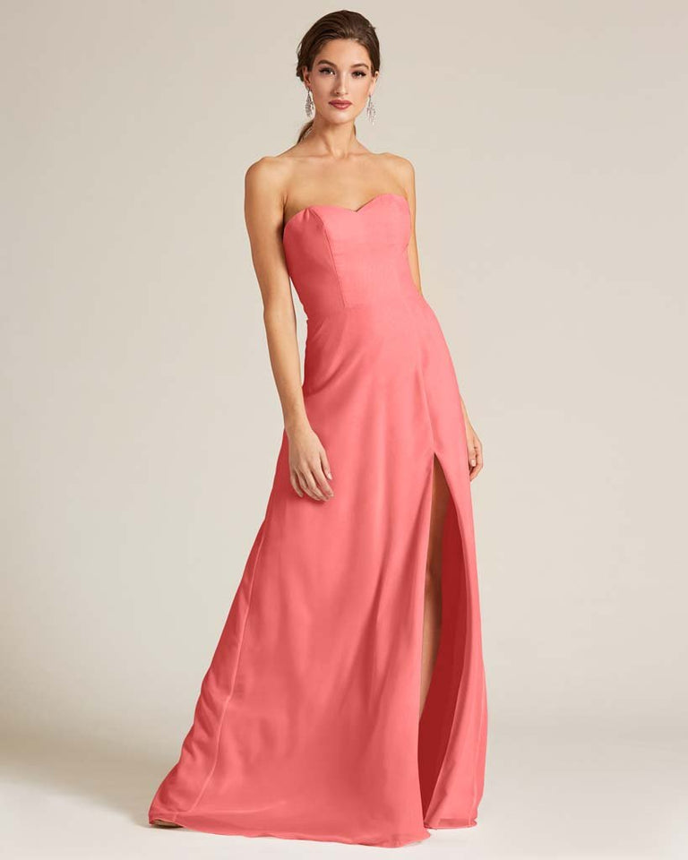 Watermelon Strapless Cut Out Back Formal Gown