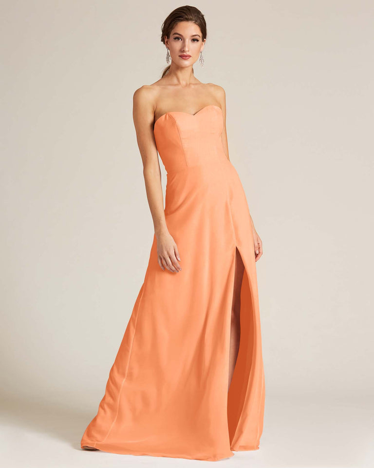 Papaya Strapless Cut Out Back Formal Gown