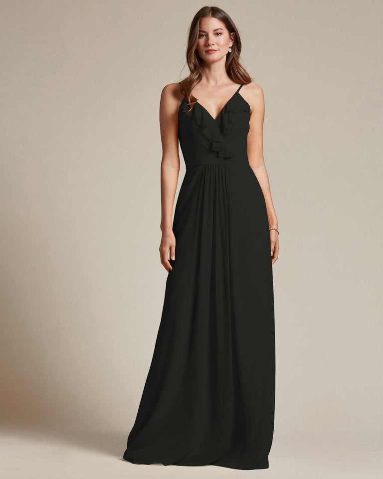 Black Flowy Top Spaghetti Strap Bridesmaid Gown With Ruched Skirt