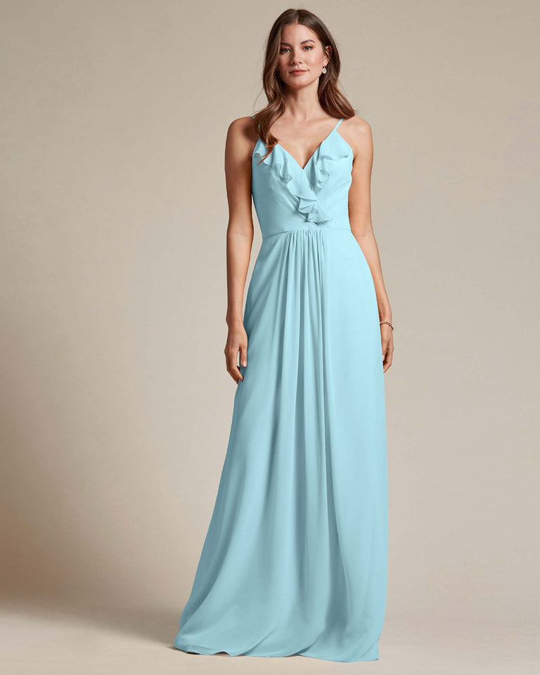 Blue Glow Flowy Top Spaghetti Strap Bridesmaid Gown With Ruched Skirt