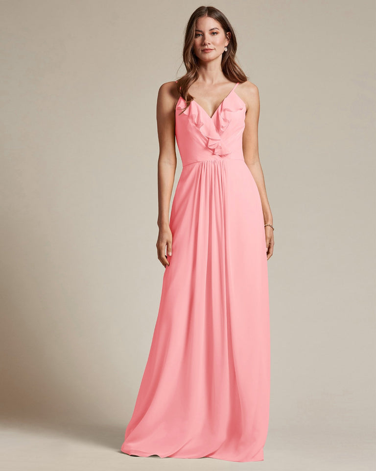 Candy Pink Flowy Top Spaghetti Strap Bridesmaid Gown With Ruched Skirt
