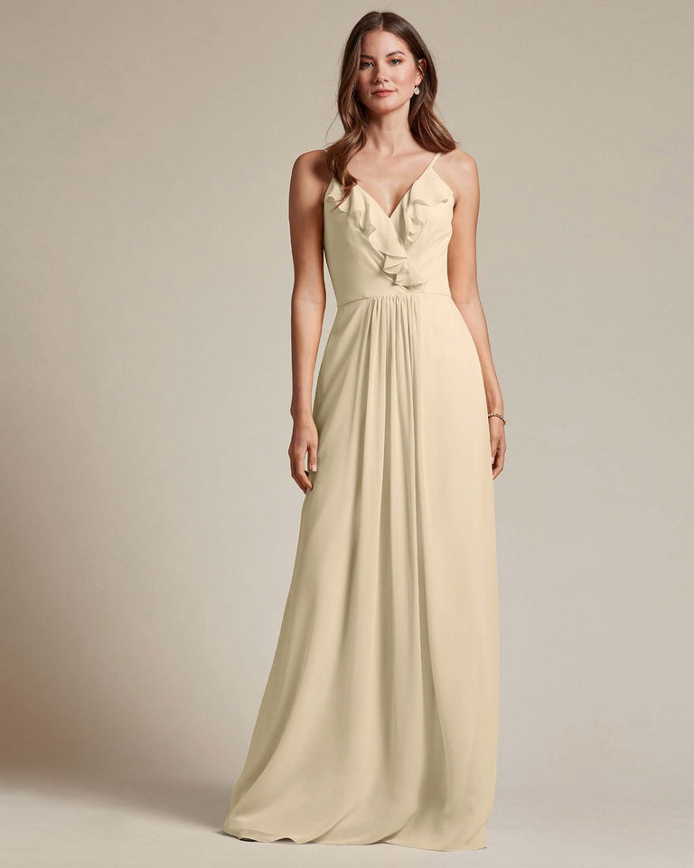 Champagne Flowy Top Spaghetti Strap Bridesmaid Gown With Ruched Skirt