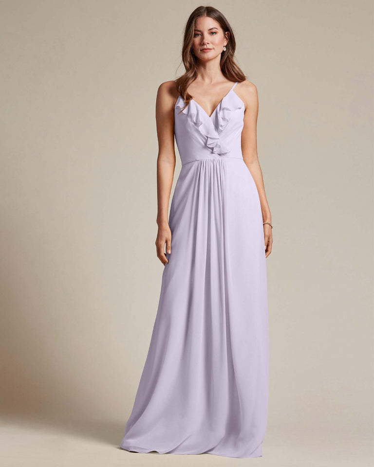 Lilac Flowy Top Spaghetti Strap Bridesmaid Gown With Ruched Skirt