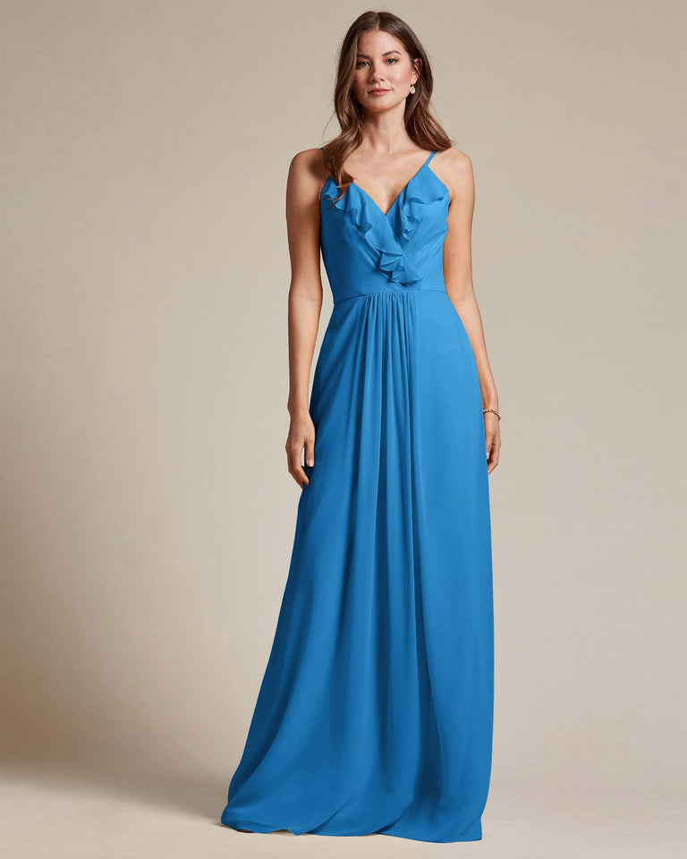 Ocean Blue Flowy Top Spaghetti Strap Bridesmaid Gown With Ruched Skirt
