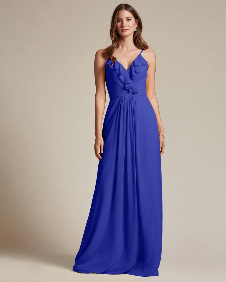 Royal Blue Flowy Top Spaghetti Strap Bridesmaid Gown With Ruched Skirt