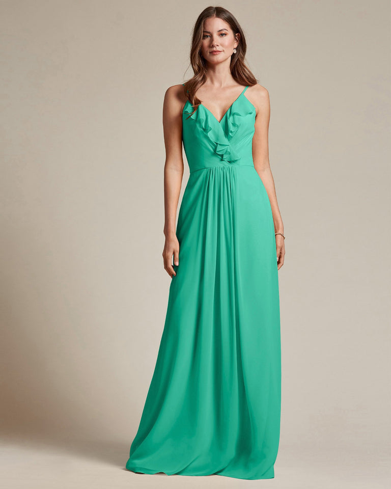 Turquoise Flowy Top Spaghetti Strap Bridesmaid Gown With Ruched Skirt